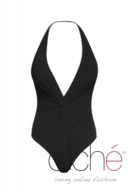 Twist Plunge Halter One Piece in black