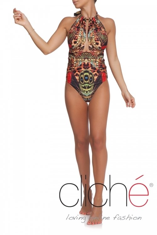 GOLD CHAINS halter low back one piece