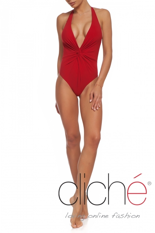 V neck swimsuit in red