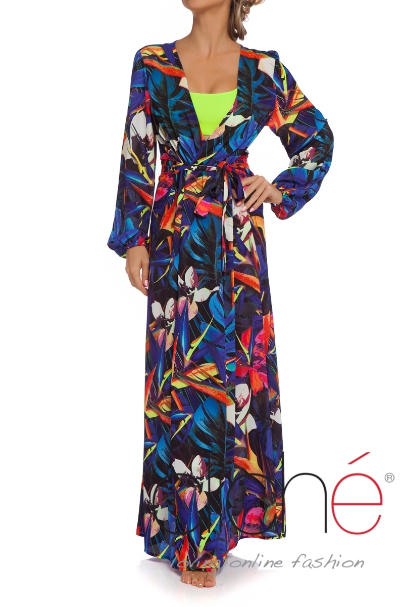 NEON TROPICS wrap tie maxi beach dress