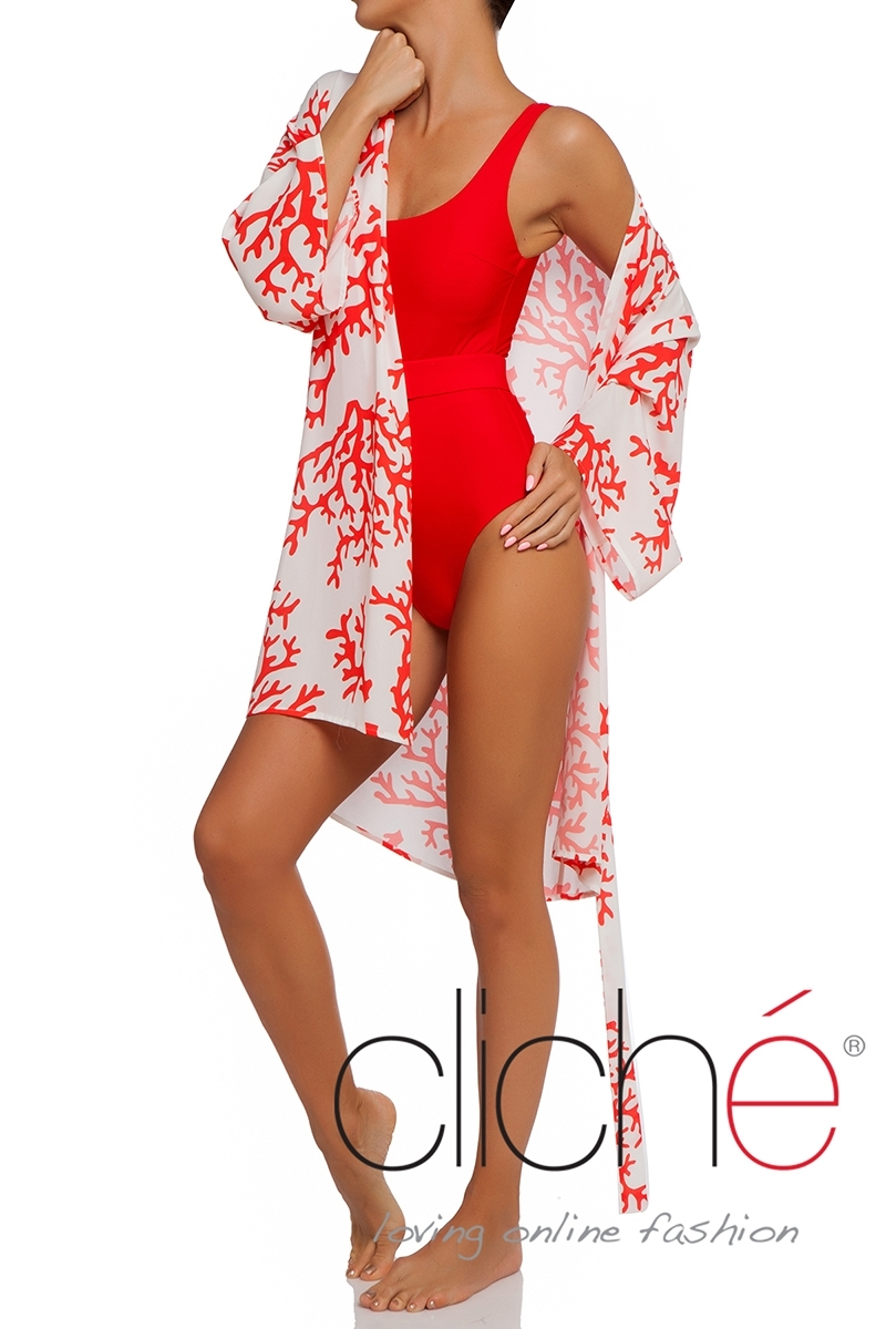 MIAMI RED belted one piece swimsuit