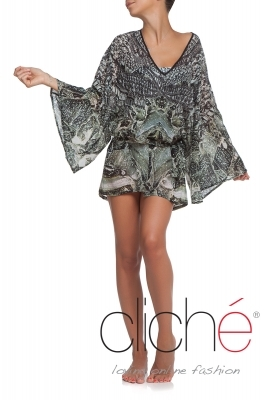 GREY TEXTURE Beach kaftan