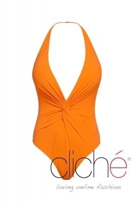 Twist Plunge Halter One Piece in orange