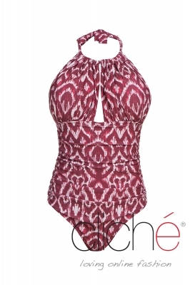 BURGUNDY halter low back one piece