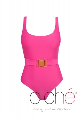 MIAMI PINK belted one piece swimsuit