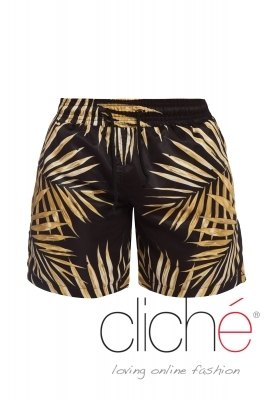 BLACK TROPICAL GOLD beach shorts